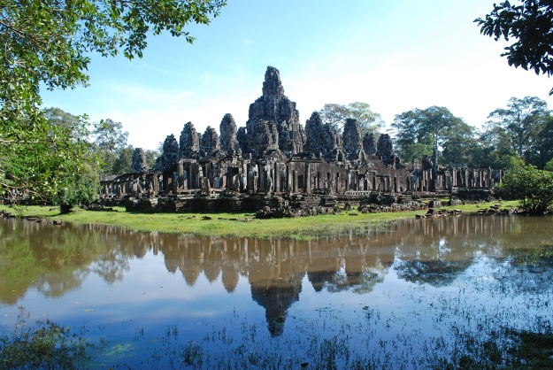 Angkor temple reflection wide