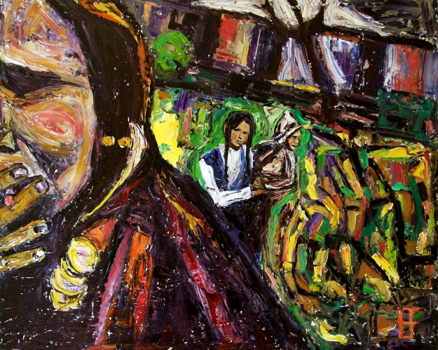 forrest_woman_smoking_girl_holding_baby_boy_oil_on_canvas_24x30_2012